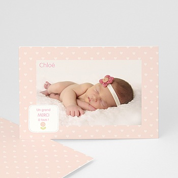 Carte remerciement naissance fille - Rayures roses - 1