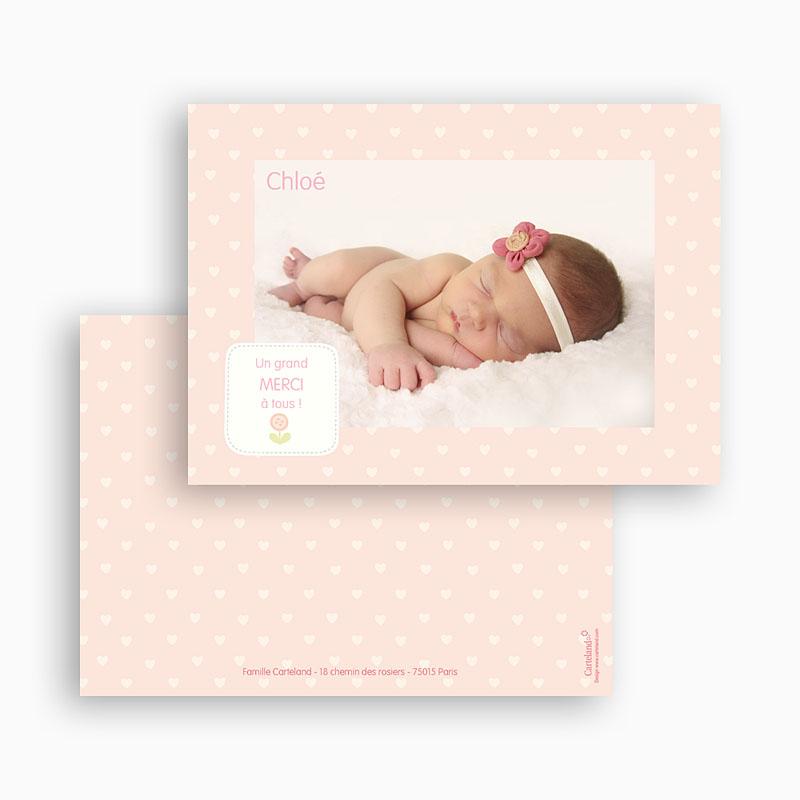 Carte Remerciement Naissance Fille Coeurs poudrés gratuit