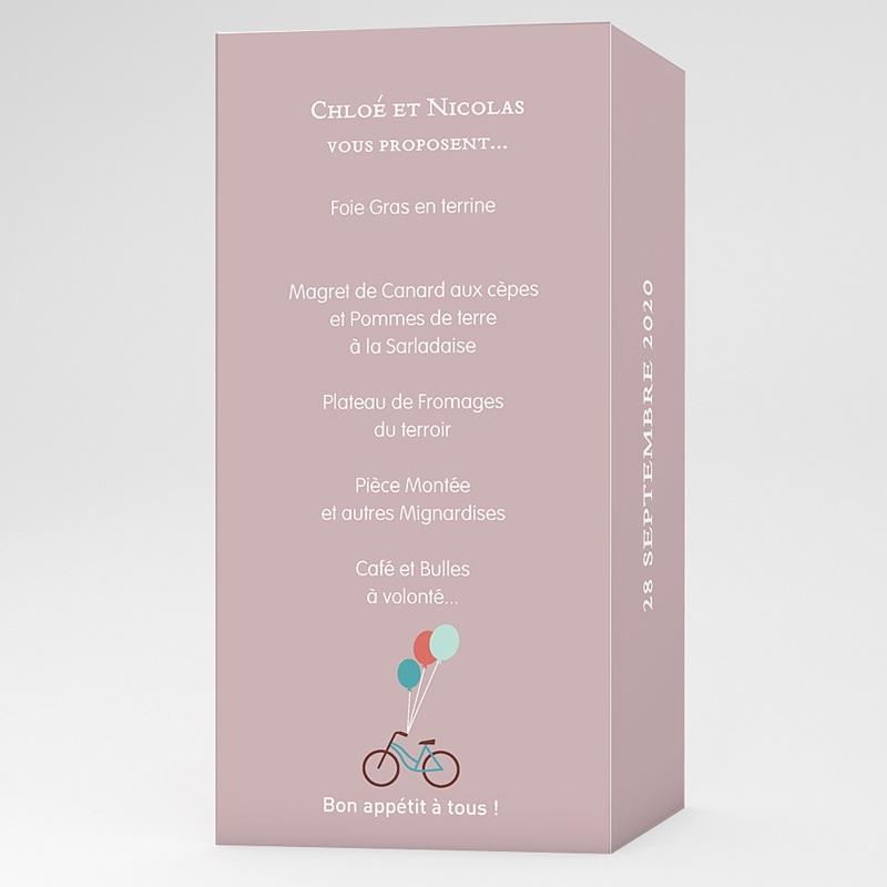 Menu Mariage Personnalisé A bicyclette