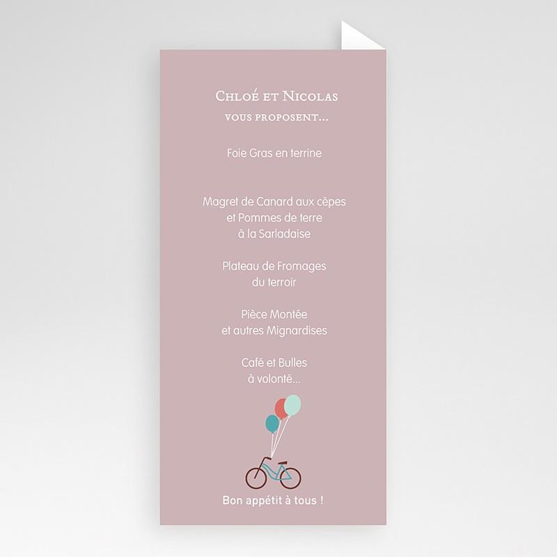 Menu Mariage Personnalisé A bicyclette pas cher