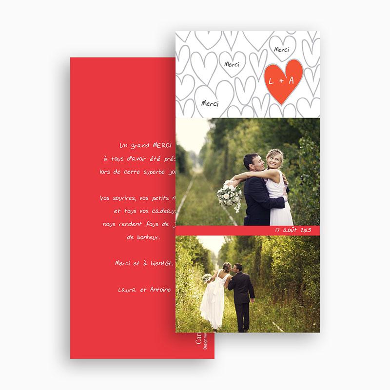 Remerciements Mariage Personnalisés Coeurs dessinés gratuit