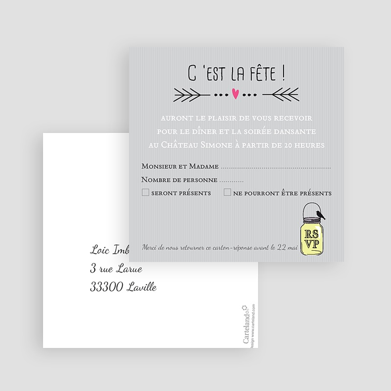 Carton Invitation Personnalisé Pots d'amour gratuit