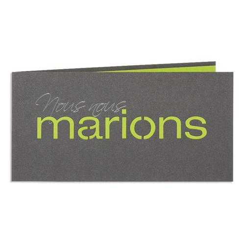 Faire-Part Mariage Traditionnel - Marions - Vert 24446