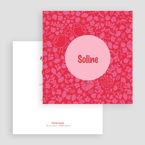 Faire-Part Naissance Fille - Rouge & Rose 24465 thumb