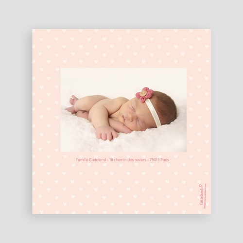 Faire-Part Naissance Fille - Coeurs roses 24473 thumb
