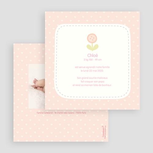 Faire-Part Naissance Fille - Coeurs roses 24474 thumb