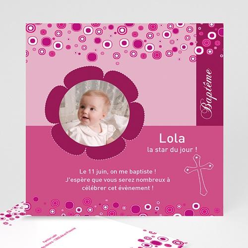 Faire-part Baptême Fille - Fleur rosée 24481 thumb