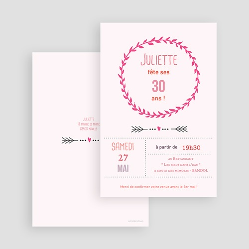 Invitation Anniversaire Adulte - Date poudrée 24489 preview