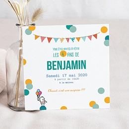 Carte invitation anniversaire garçon 4 ans ballons