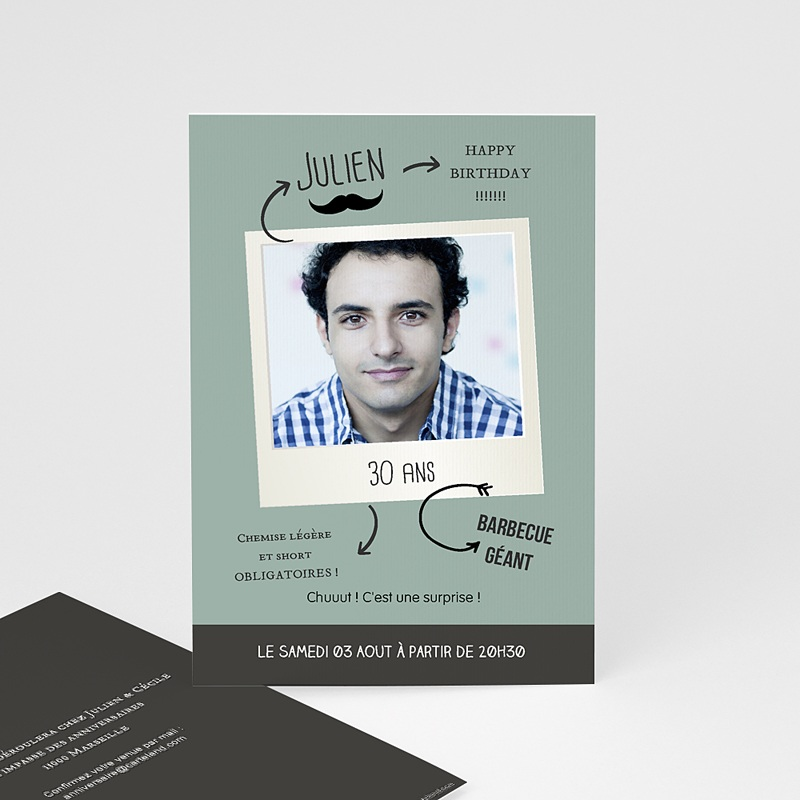 Carte invitation anniversaire adulte Pola party