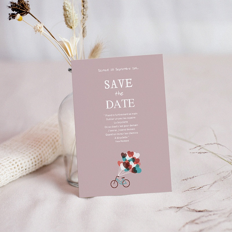 Save the date mariage A bicyclette