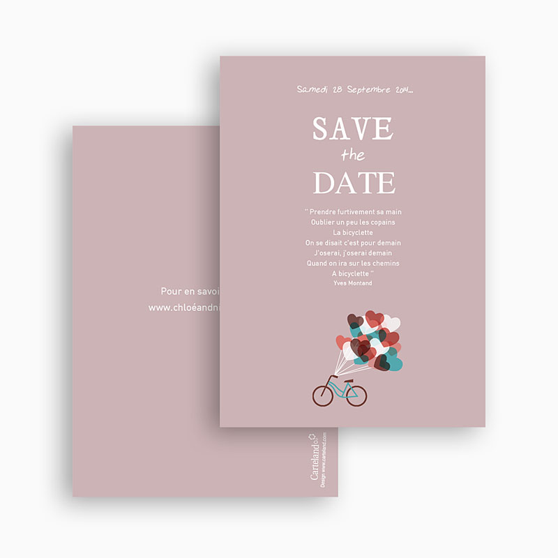 Save the date mariage A bicyclette gratuit