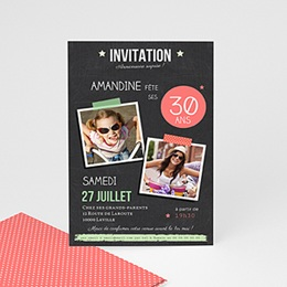 Invitations Anniversaire adulte Ardoise Pop