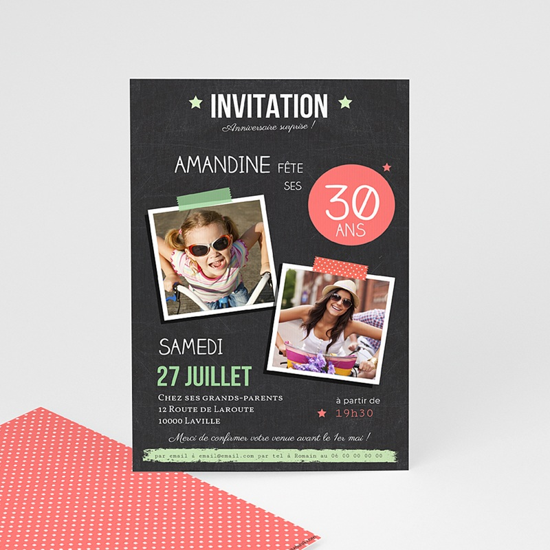 Invitation Anniversaire Adulte Ardoise Pop
