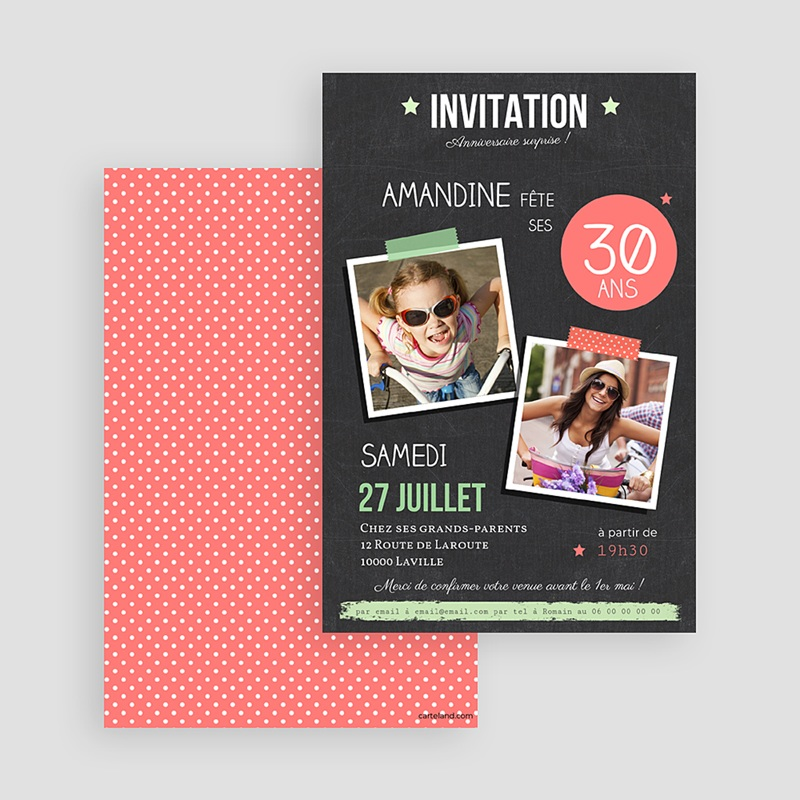 Carte invitation anniversaire adulte Ardoise Pop gratuit