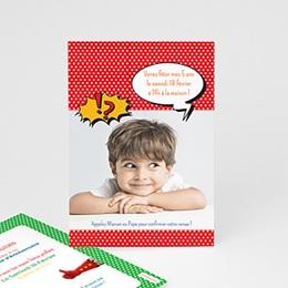 Carte invitation anniversaire garçon - Super fête - 1