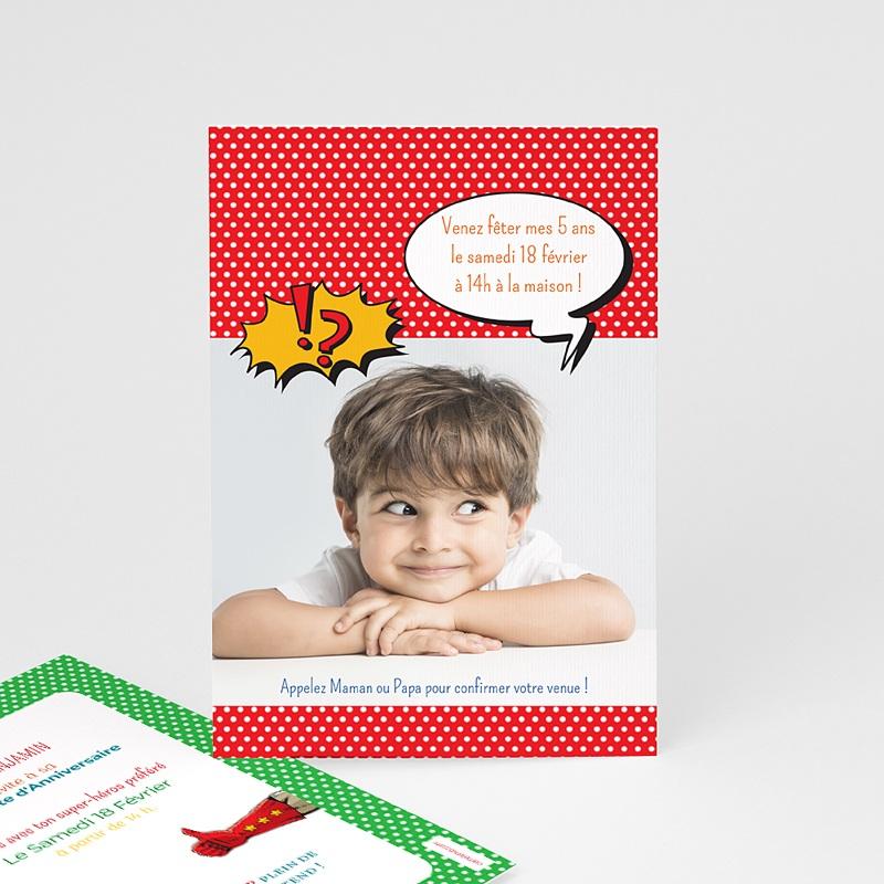 Carte invitation anniversaire garçon Super Héro masqué