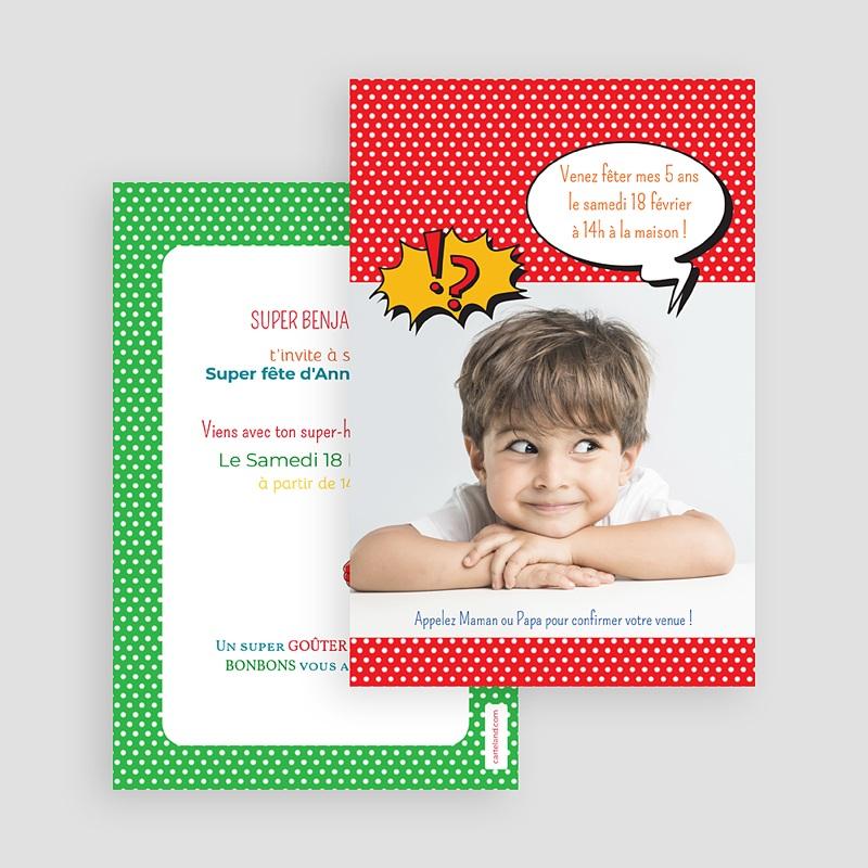 Carte invitation anniversaire garçon Super Héro masqué gratuit