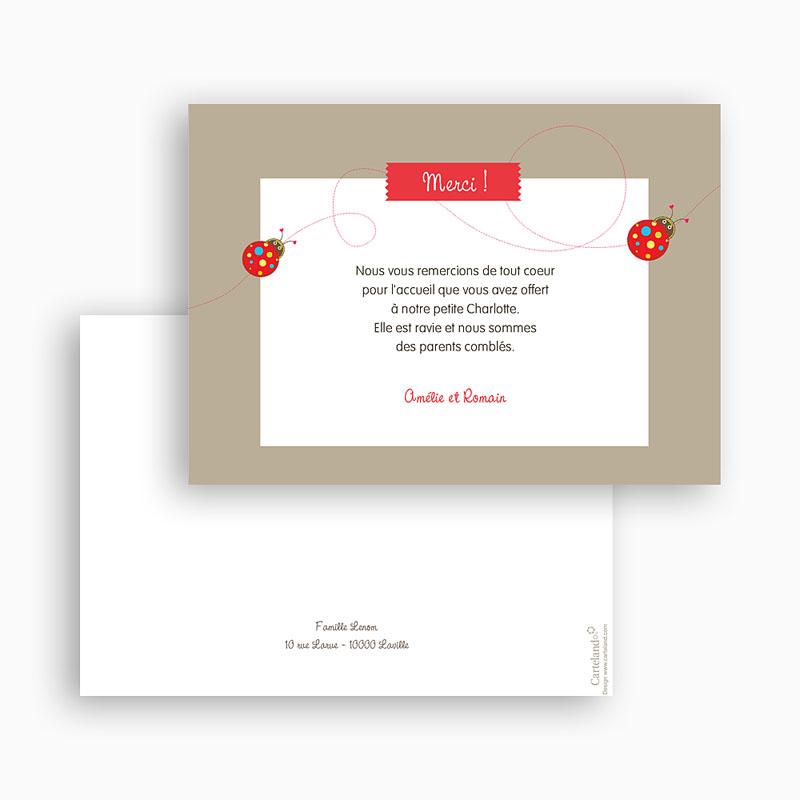 Carte remerciement naissance fille Coccinelles Peps gratuit