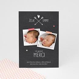 Carte remerciement naissance jumeaux Jumeaux ardoise