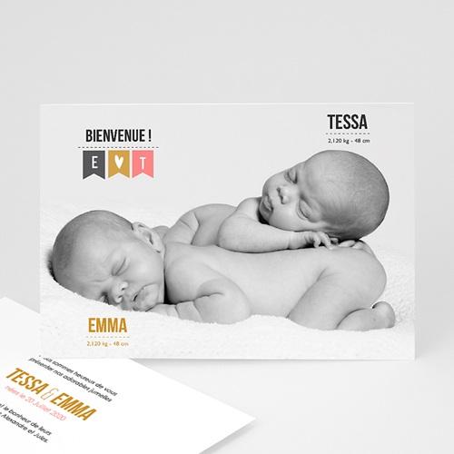 Faire-part naissance jumeaux Photo Jumeaux