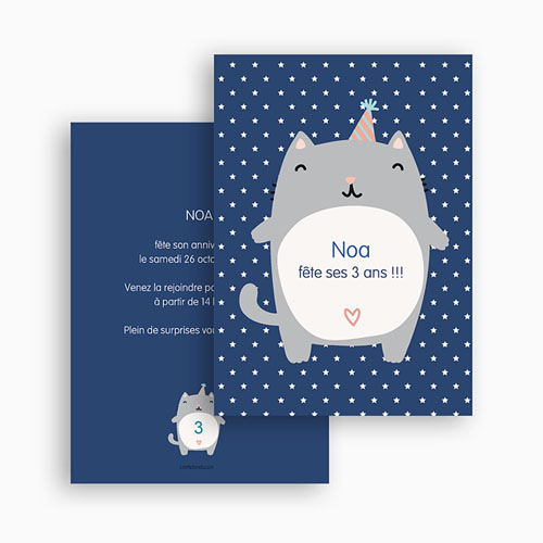Invitations Anniversaire Garçon - Chat party 24863 thumb