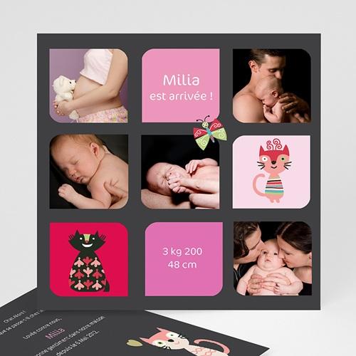 Faire-part naissance fille Naissance Multiphotos