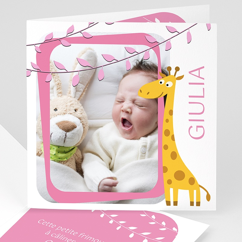 Faire-part naissance fille Girafe