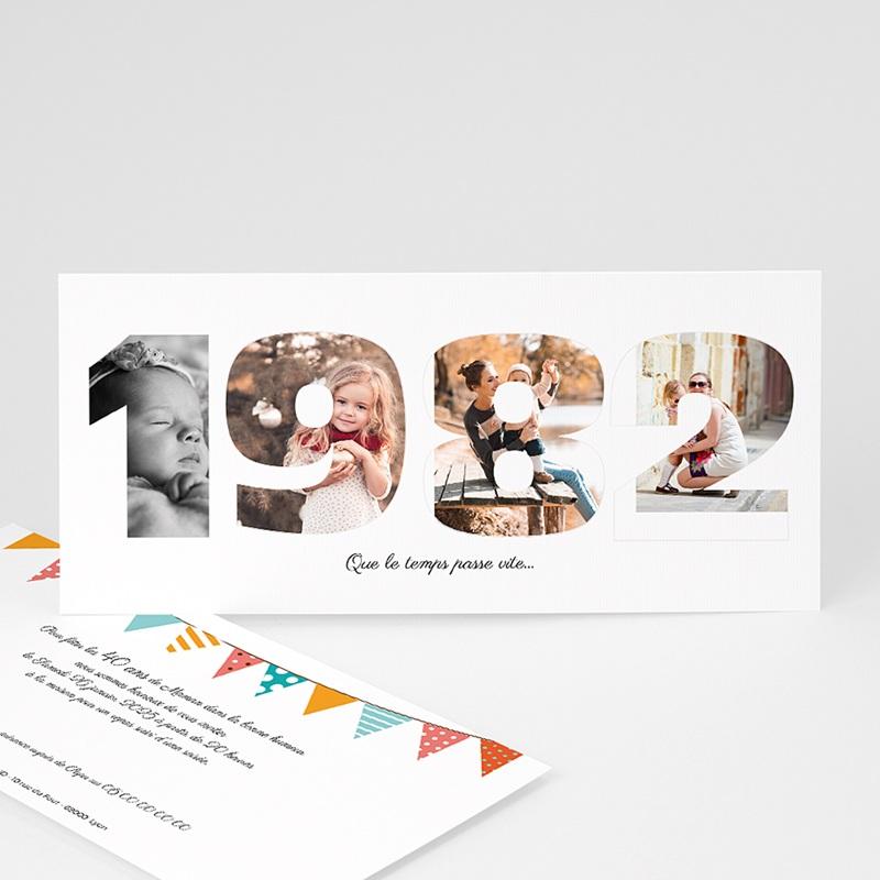 Invitation Anniversaire Adulte - L'année de Naissance | Carteland.com