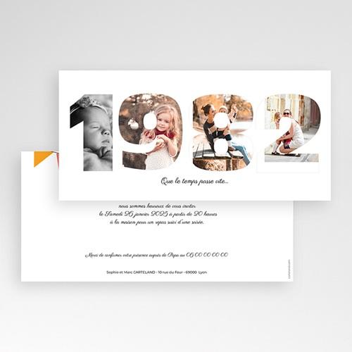 Carte Invitation Anniversaire Adulte L'année de Naissance pas cher