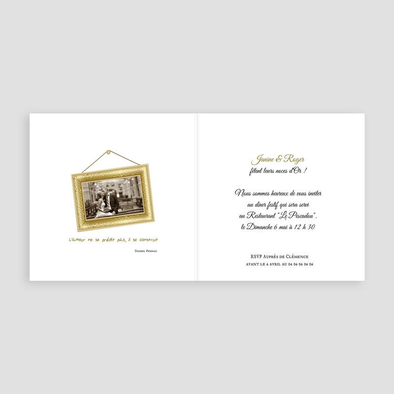 invitations anniversaire mariage noces d 39 or 50 ans. Black Bedroom Furniture Sets. Home Design Ideas