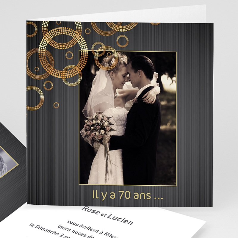 invitation anniversaire mariage noces platine 70 ans. Black Bedroom Furniture Sets. Home Design Ideas