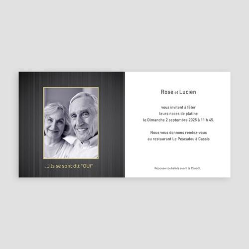 Invitations Anniversaire Mariage - Noces de Platine - 70 ans 2769 preview
