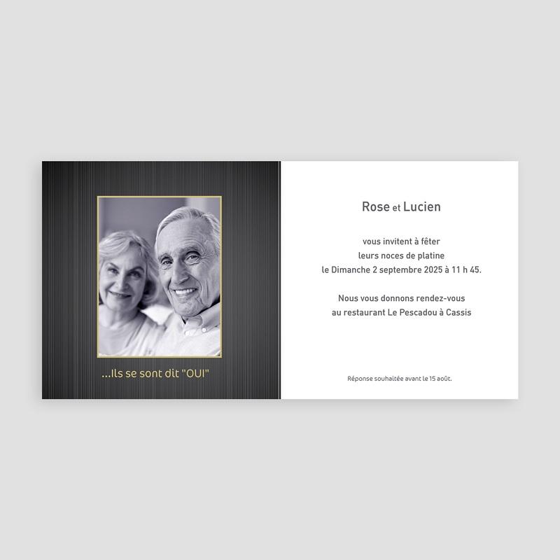 Carte invitation anniversaire mariage Noces de Platine - 70 ans pas cher