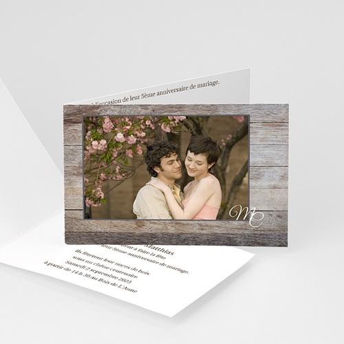 Invitations Anniversaire Mariage - Noces de bois - 5 ans 2784