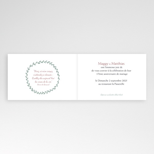 Invitations Anniversaire Mariage - Noces de Rose - 17 ans de Mariage 2789 thumb