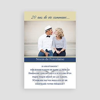 Achat carte invitation anniversaire mariage noces de porcelaine - 20 ans