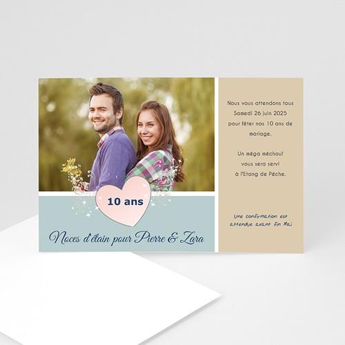 Carte invitation anniversaire mariage Noces d'étain - 10 ans