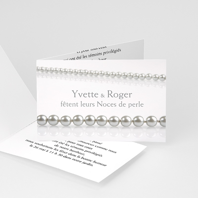 invitation anniversaire mariage noces perle 30 ans. Black Bedroom Furniture Sets. Home Design Ideas