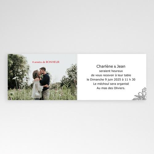 Carte invitation anniversaire mariage Noces de coquelicot - 8 ans pas cher