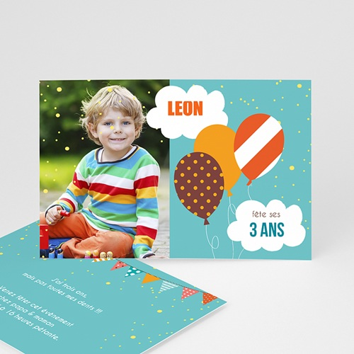 Invitations Anniversaire Garçon - Confettis et ballon 2812