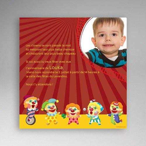 Carte invitation anniversaire garçon Cirque