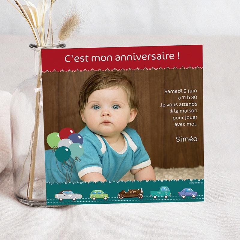 Invitation Anniversaire Garçon - Voiture  2824 thumb