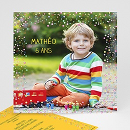 Carte invitation anniversaire garçon - Confettis 2844