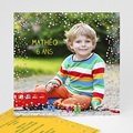 Carte invitation anniversaire garçon Confettis