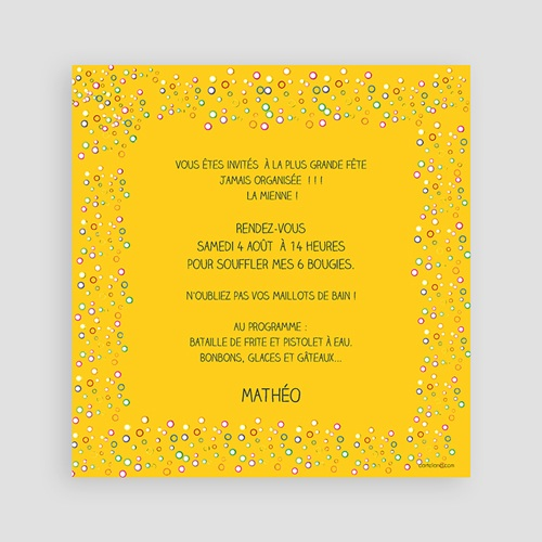 Invitations Anniversaire Garçon - Confettis 2845 preview