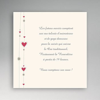 Carton invitation personnalisé coeurs et perles pas cher