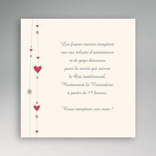 Carton Invitation Personnalisé Coeurs & Perles
