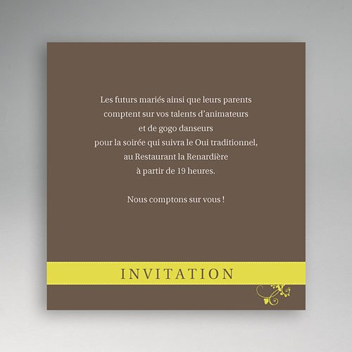 carton invitation personnalis marron l gant. Black Bedroom Furniture Sets. Home Design Ideas