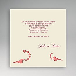 Invitations L'Amour de 2 colombes